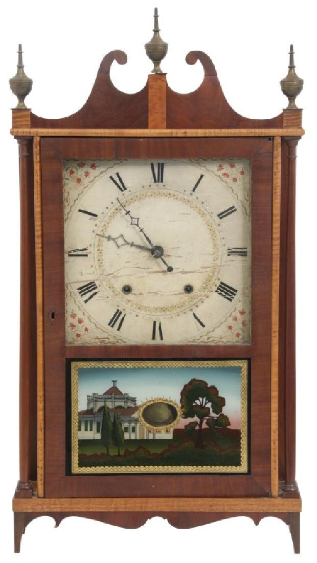 Rare Samuel Hickcox Pillar & Scroll Clock