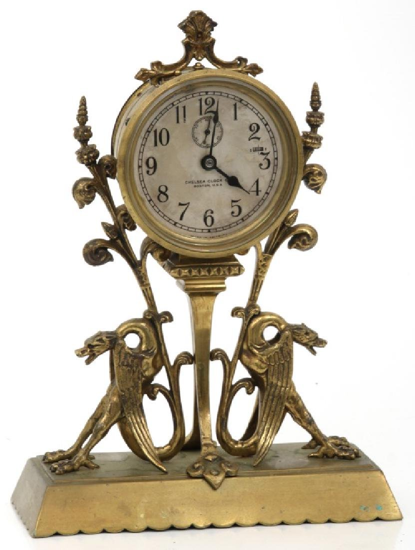 Chelsea Bronze Winged Griffin Mantle Clock - 2