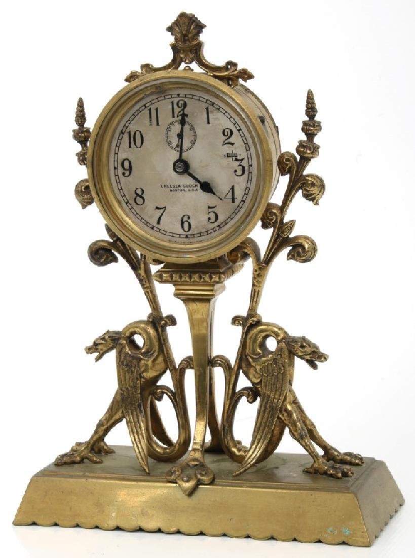 Chelsea Bronze Winged Griffin Mantle Clock - 3