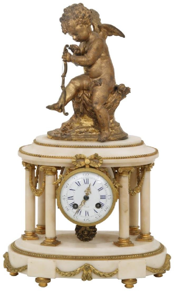 French Figural Cupid Mantle Clock
