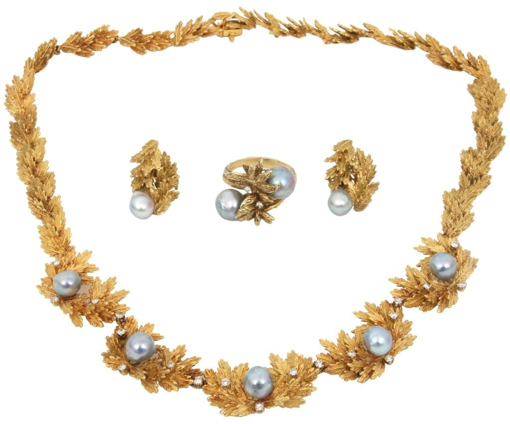 3 Piece Gold, Diamond & Pearl Jewelry Set