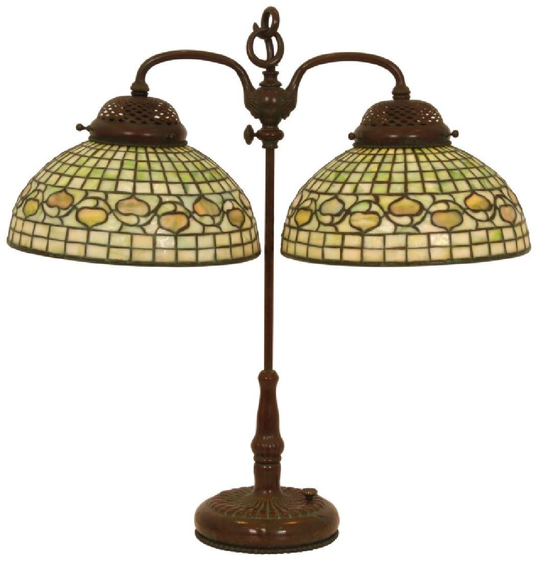 Tiffany Studios Acorn Double Student Lamp