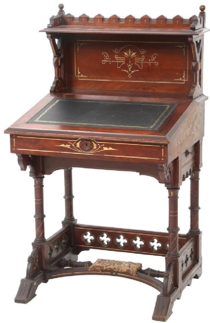 19th Century Gothic Walnut Davenport Desk