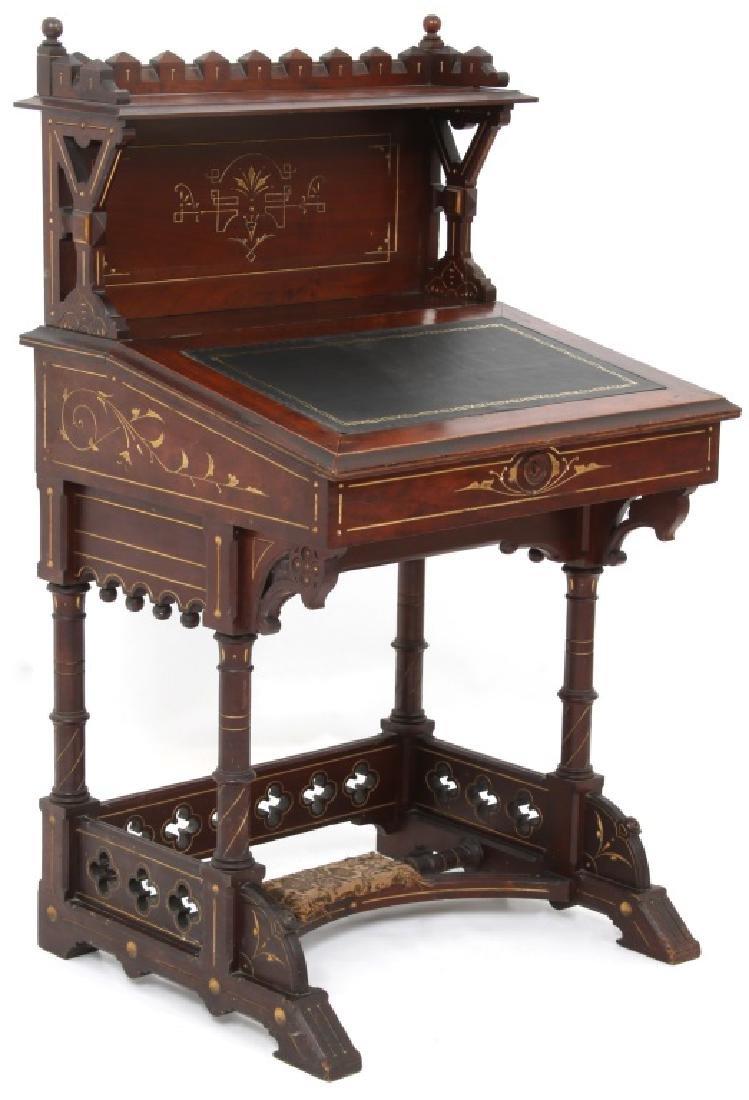 19th Century Gothic Walnut Davenport Desk - 3