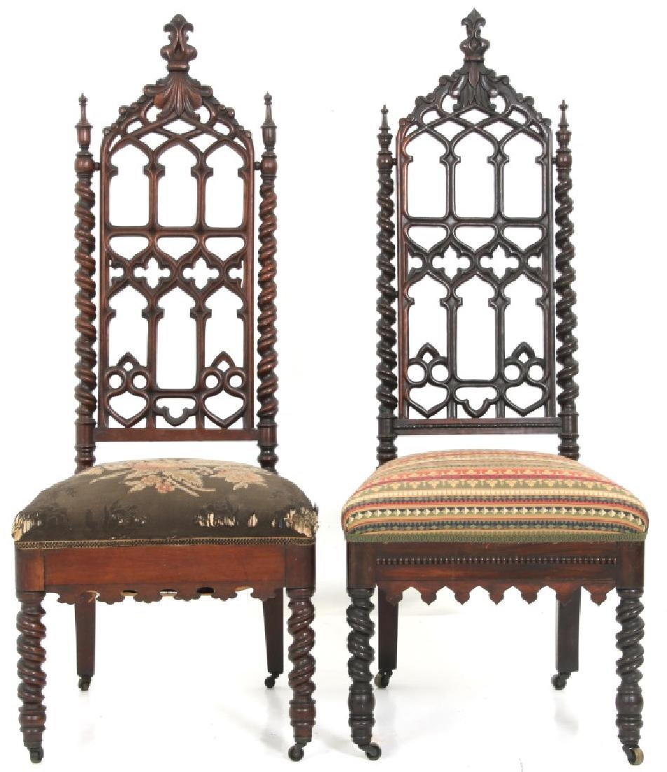 Pair of American Mahogany Gothic Hall Chairs - 10