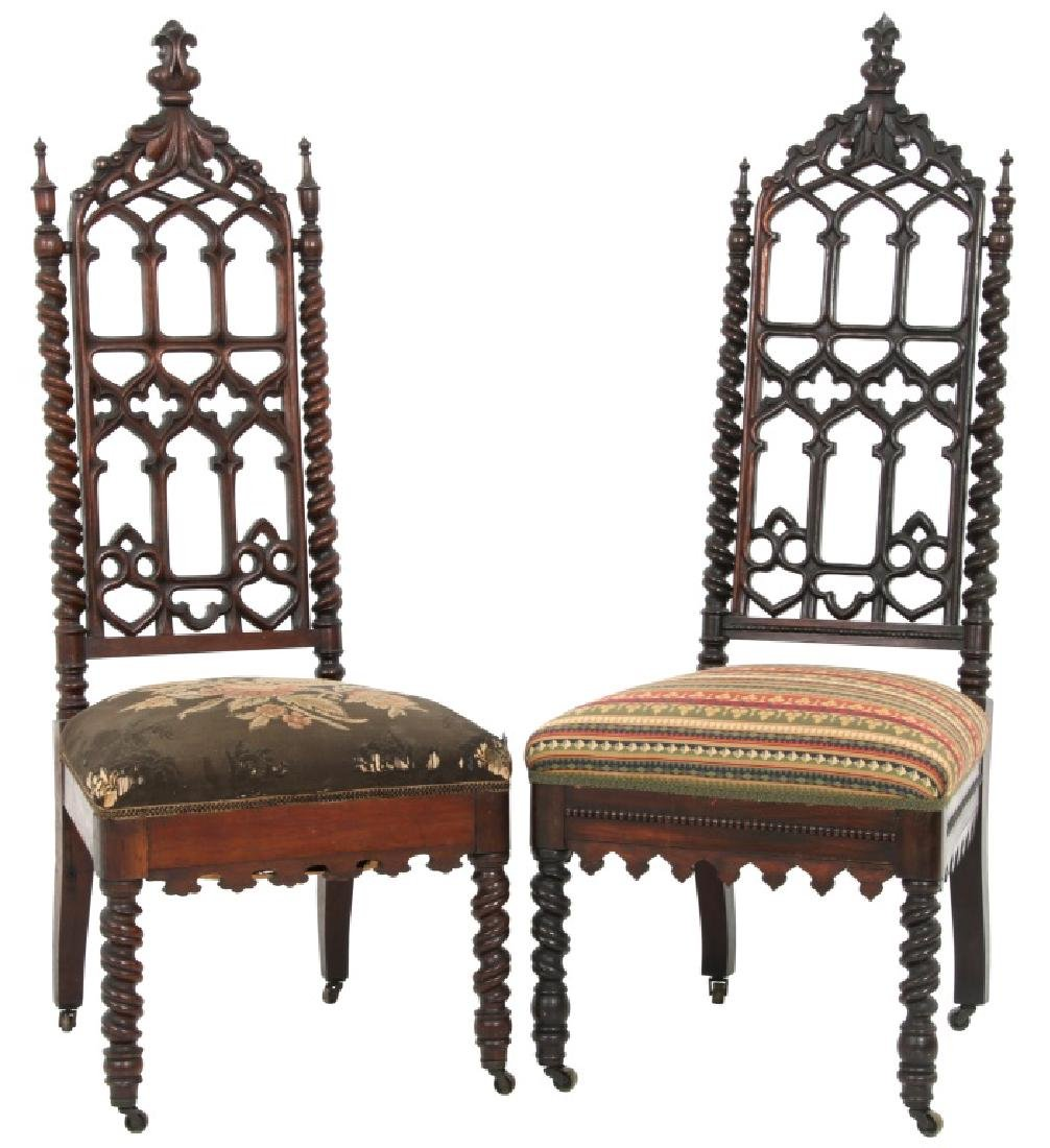 Pair of American Mahogany Gothic Hall Chairs