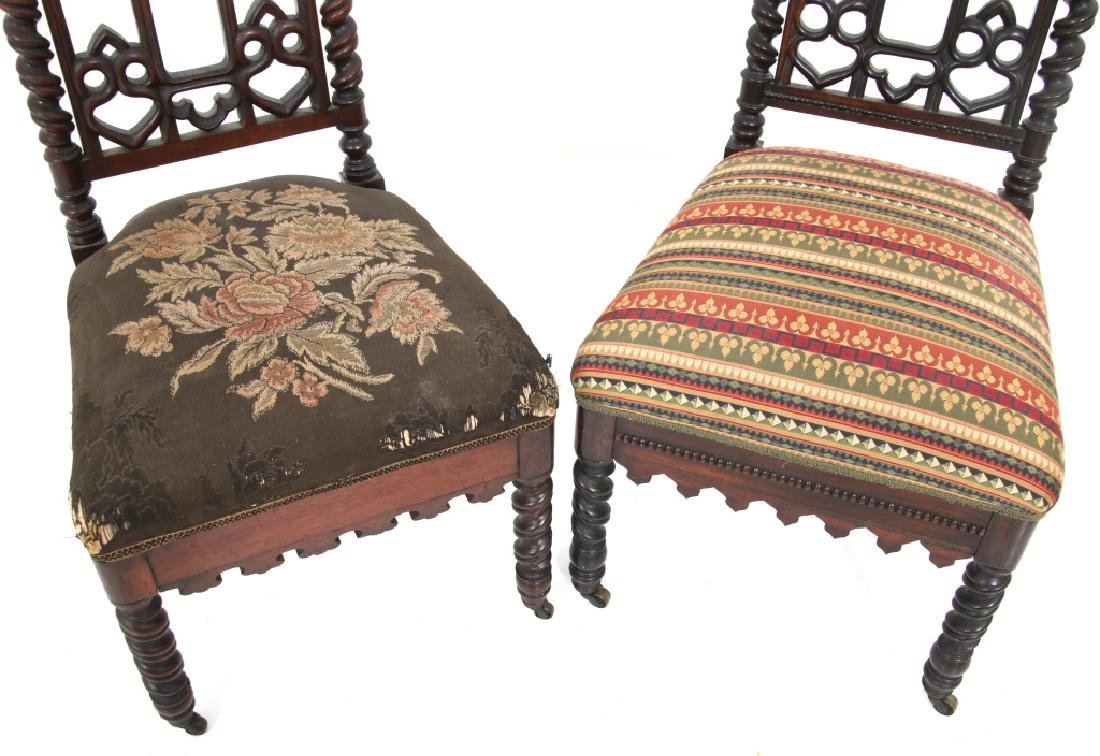 Pair of American Mahogany Gothic Hall Chairs - 4
