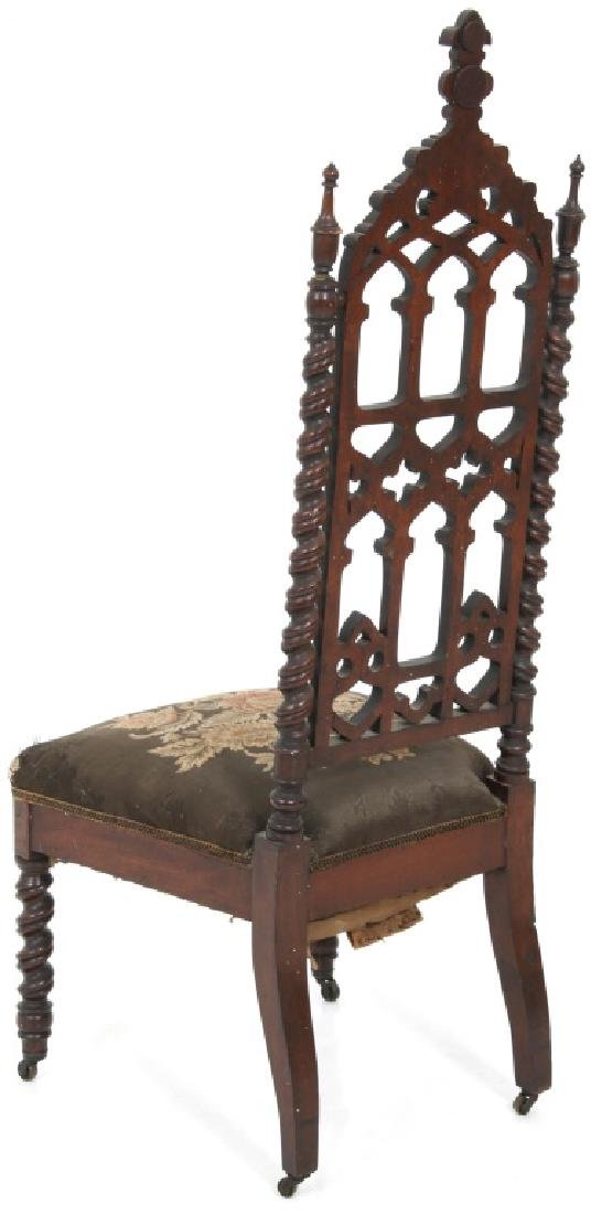 Pair of American Mahogany Gothic Hall Chairs - 7