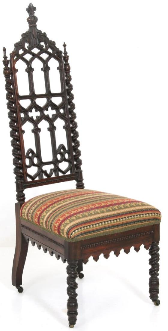 Pair of American Mahogany Gothic Hall Chairs - 8