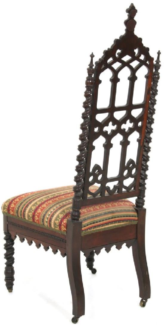 Pair of American Mahogany Gothic Hall Chairs - 9