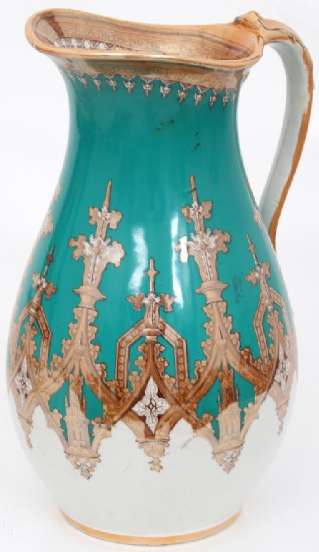 Gothic Pattern Transferware Pitcher & Bowl - 4