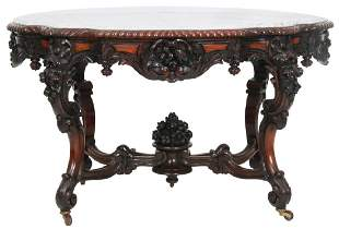 Rosewood Turtle Top Marble Top Table Attr. A. Roux