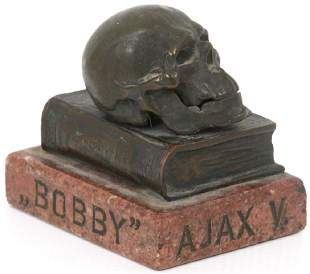 Marble & Bronze Skull Paperweight