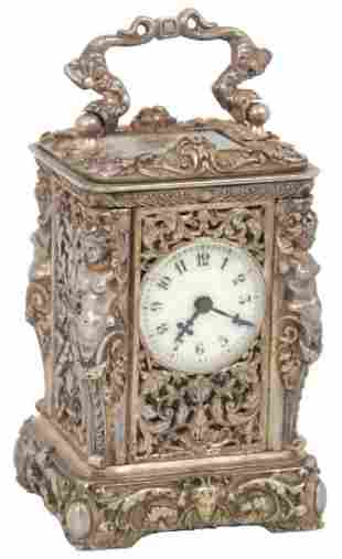 Miniature Silver Plated Bronze Carriage Clock