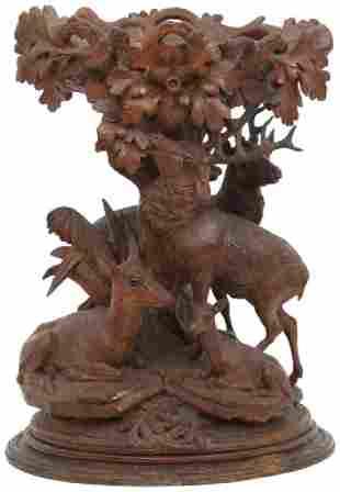 Carved Black Forest Deer Centerpiece