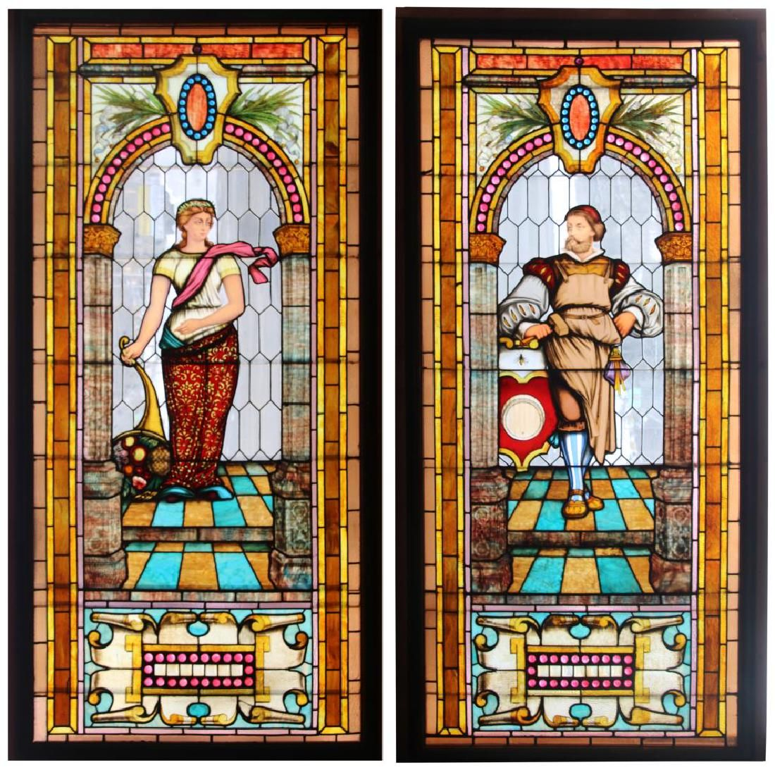 Pair of Figural Leaded Stained Glass Windows