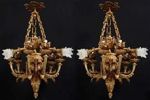 Pair of Bronze 9 Light Chandeliers