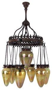 Exceptional Tiffany Bronze & Art Glass Chandelier