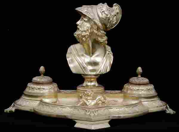 Gilt Bronze Inkwell With Bust of Theseus