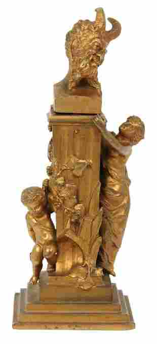 Gilt Bronze Figural Bacchus Inkwell