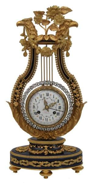 Cobalt Porcelain & Bronze Lyre Calendar Clock