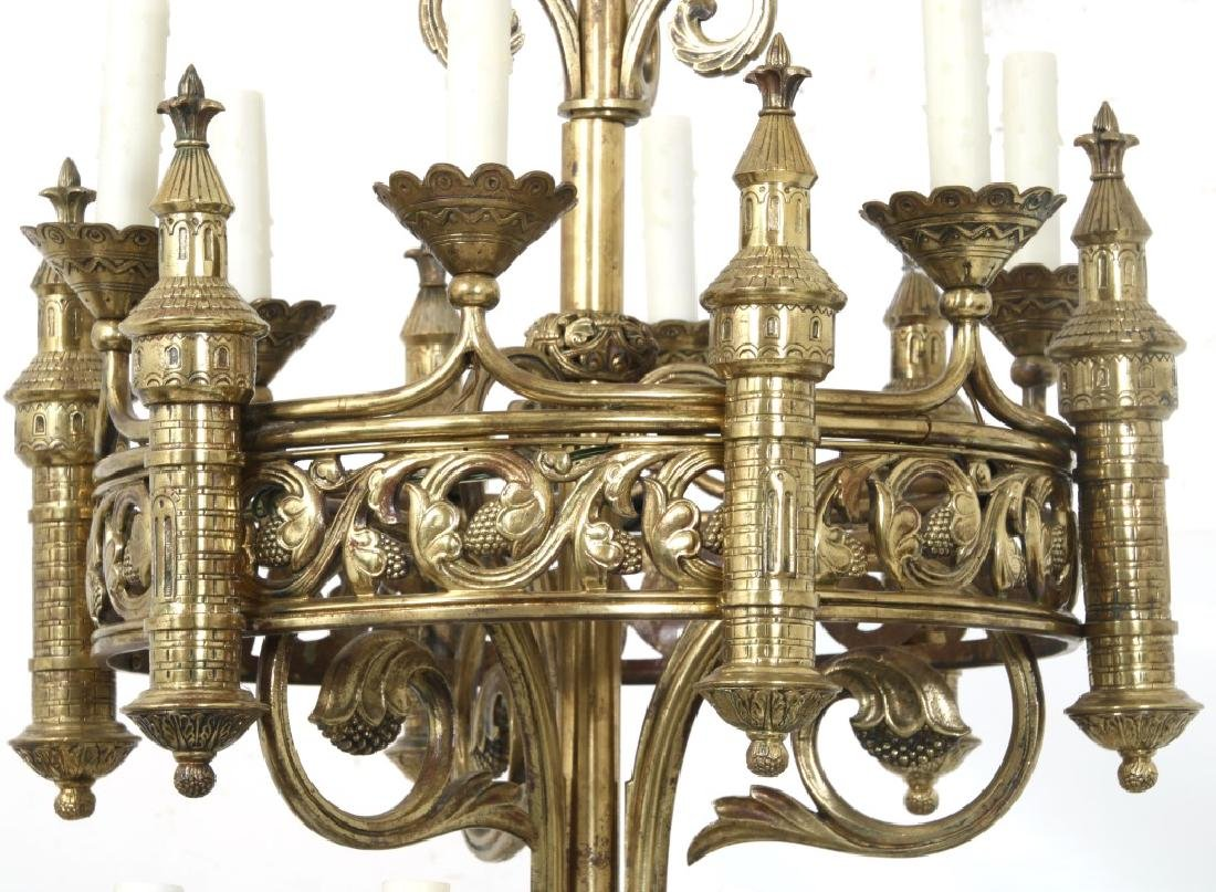 Pair of Monumental Gothic Style Bronze Torchieres - 2