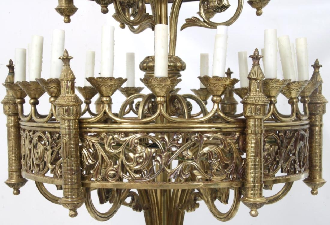 Pair of Monumental Gothic Style Bronze Torchieres - 4