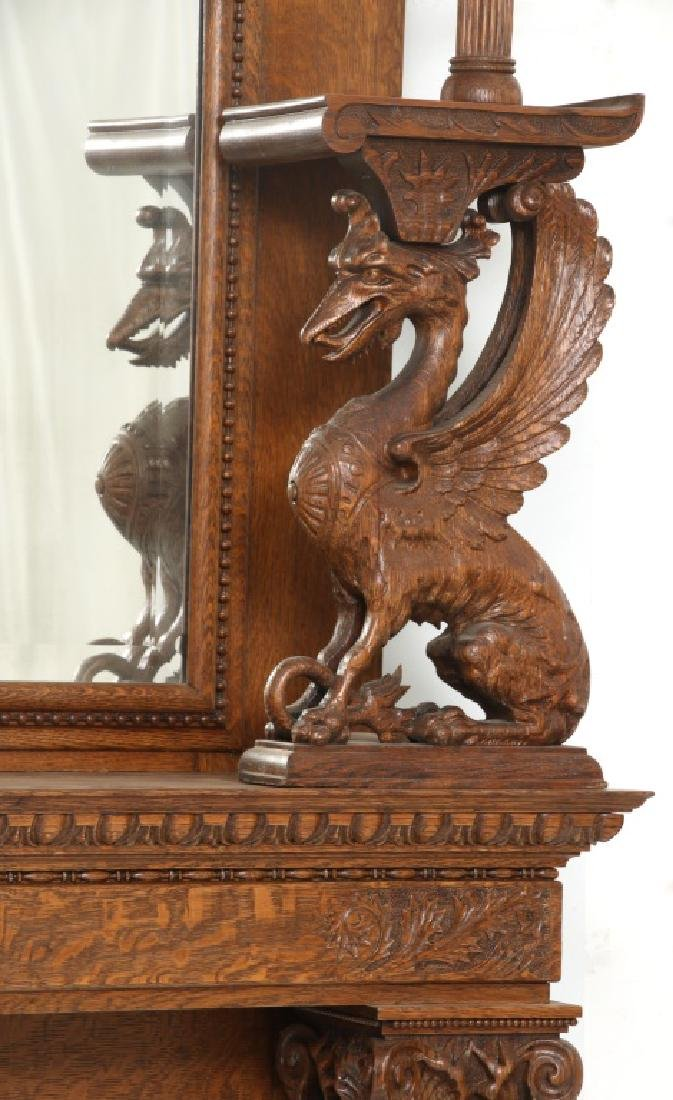 Carved Oak Fireplace Mantle with Griffins - 2