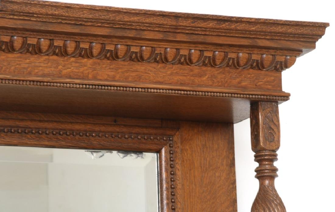 Carved Oak Fireplace Mantle with Griffins - 3