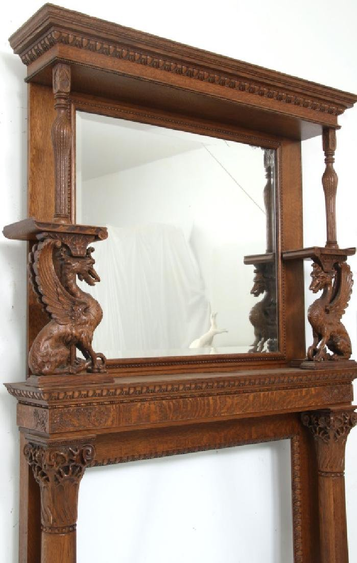Carved Oak Fireplace Mantle with Griffins - 4