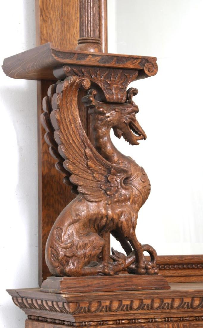 Carved Oak Fireplace Mantle with Griffins - 5