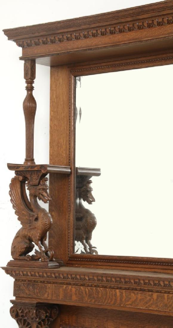 Carved Oak Fireplace Mantle with Griffins - 6