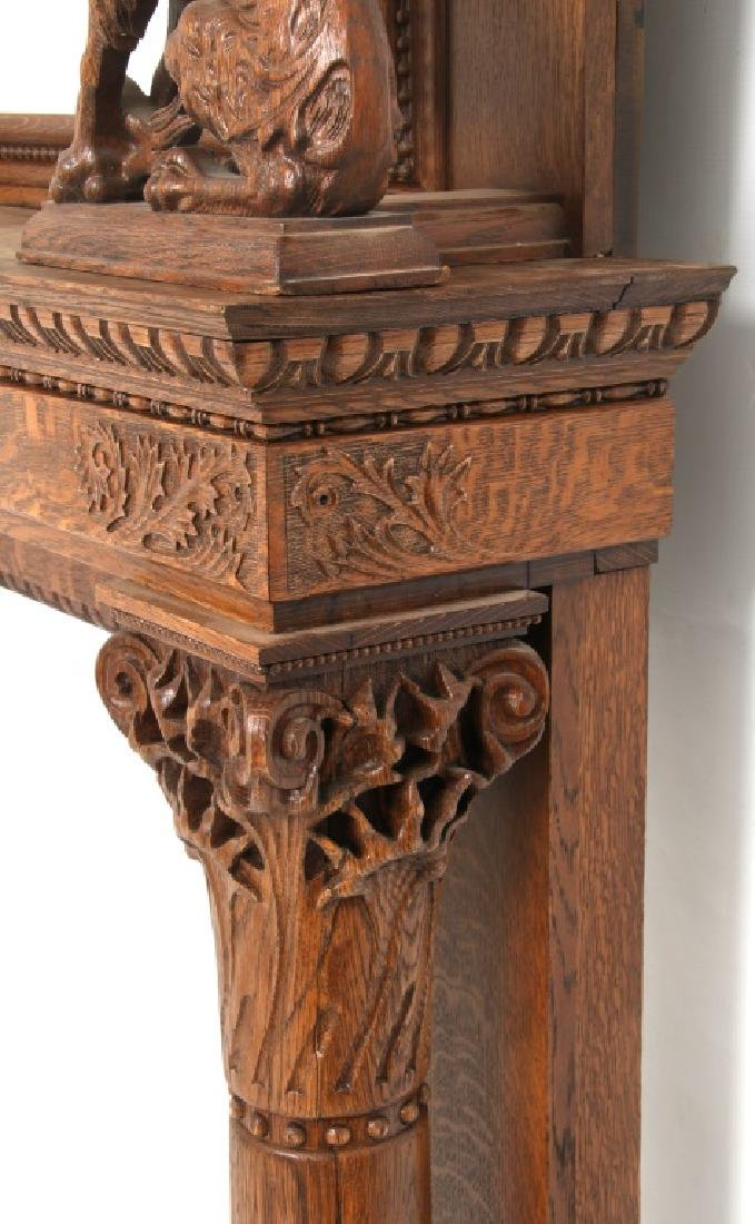 Carved Oak Fireplace Mantle with Griffins - 7