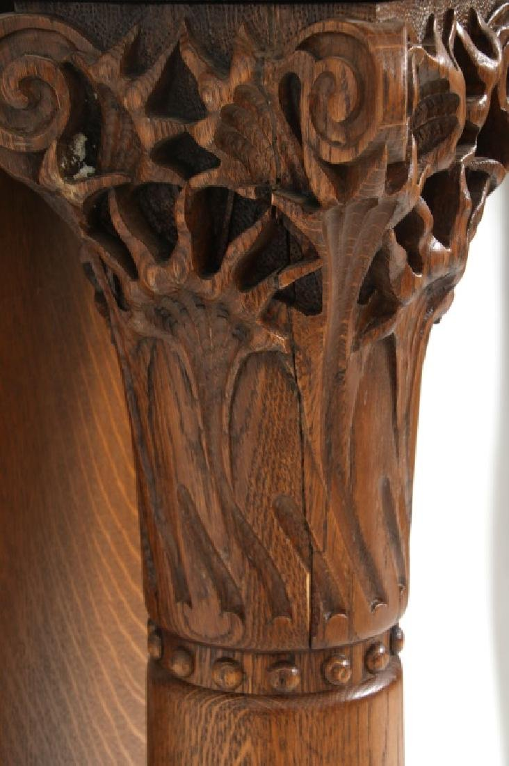 Carved Oak Fireplace Mantle with Griffins - 8