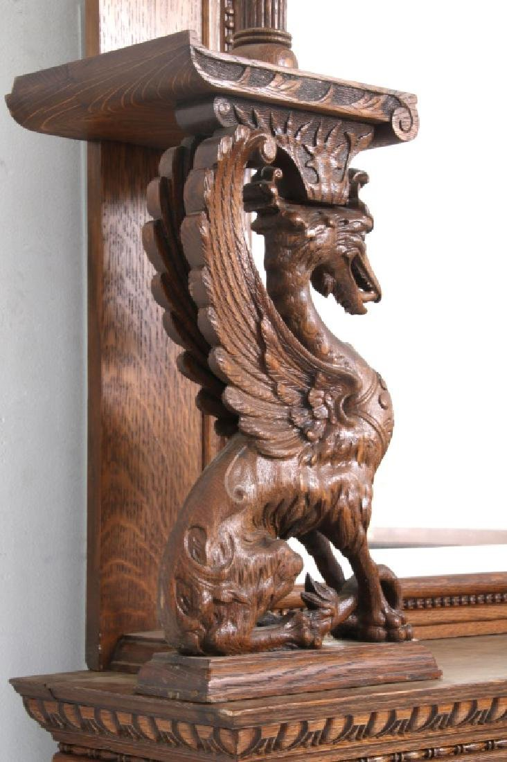 Carved Oak Fireplace Mantle with Griffins - 9