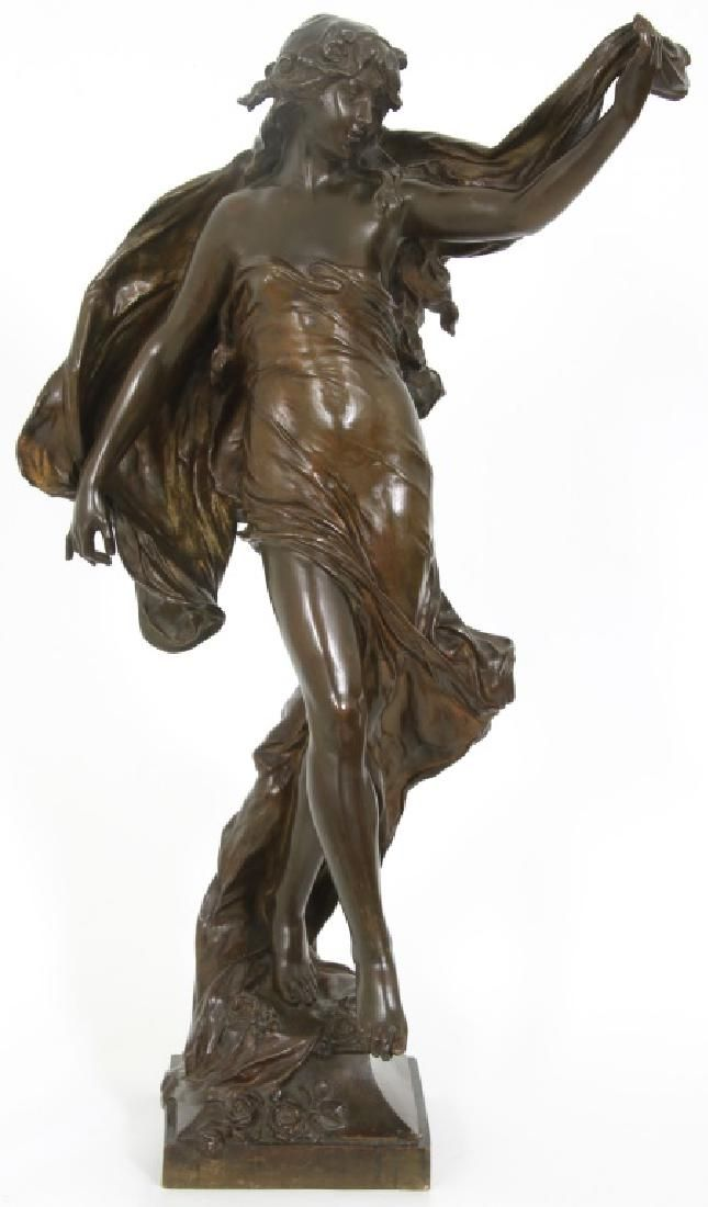 Eugene Marioton Bronze Sculpture of a Woman