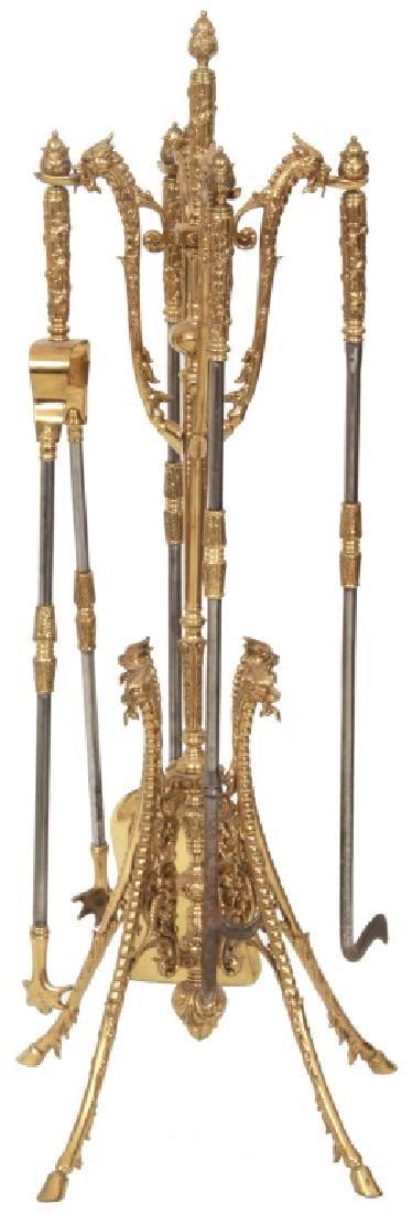 4 Piece Brass Fireplace Set with Stand - 10