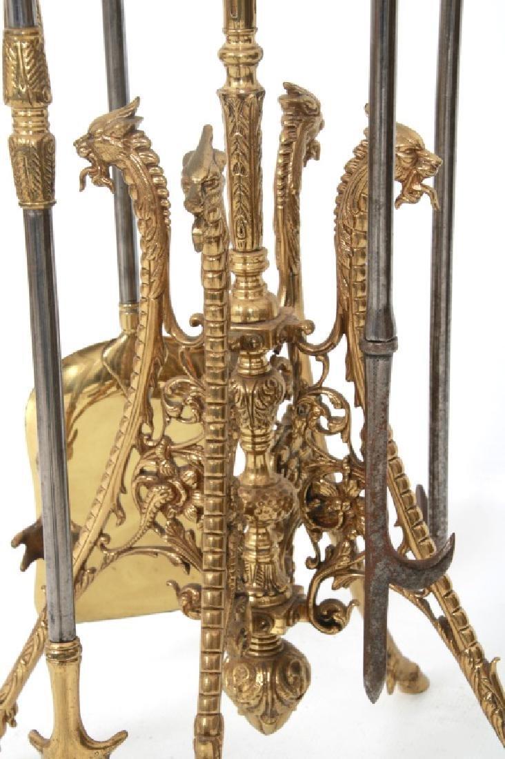4 Piece Brass Fireplace Set with Stand - 6