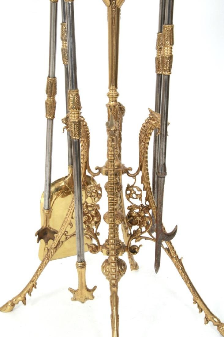 4 Piece Brass Fireplace Set with Stand - 7