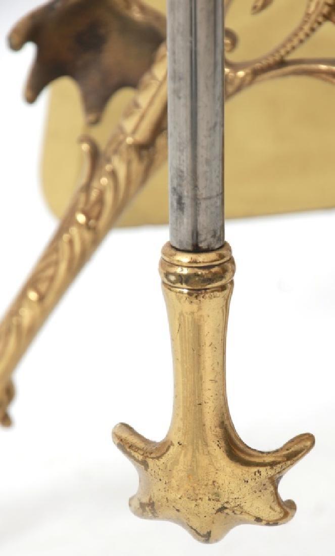 4 Piece Brass Fireplace Set with Stand - 8