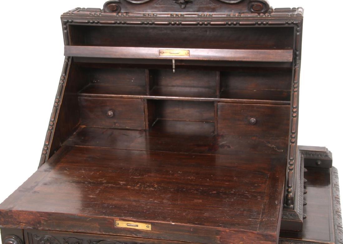Carved Walnut Slant Front Desk with Cherub - 10