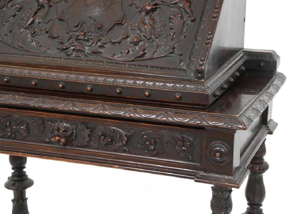 Carved Walnut Slant Front Desk with Cherub - 4