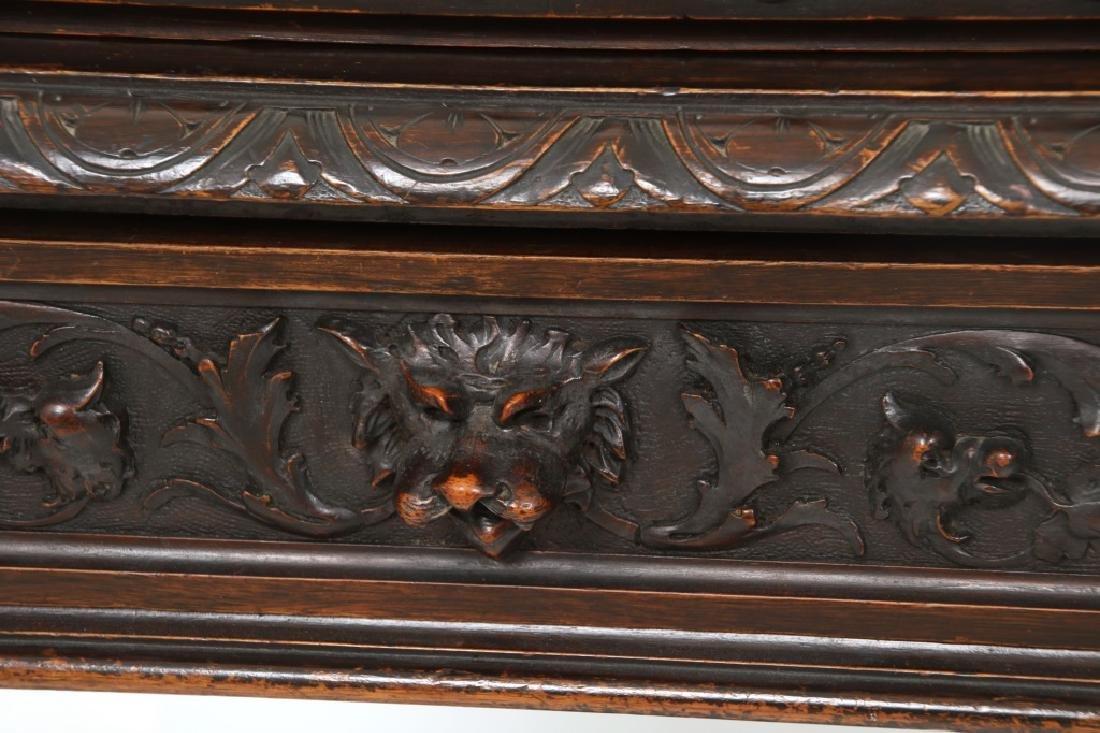 Carved Walnut Slant Front Desk with Cherub - 5