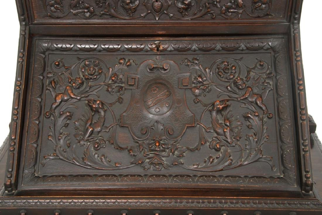 Carved Walnut Slant Front Desk with Cherub - 6