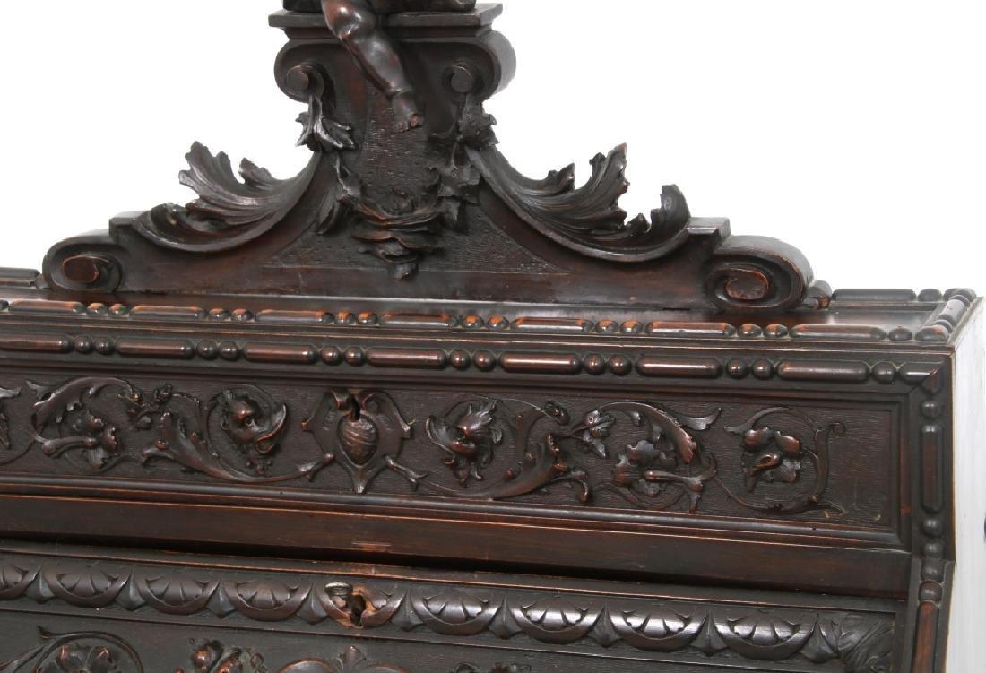 Carved Walnut Slant Front Desk with Cherub - 7