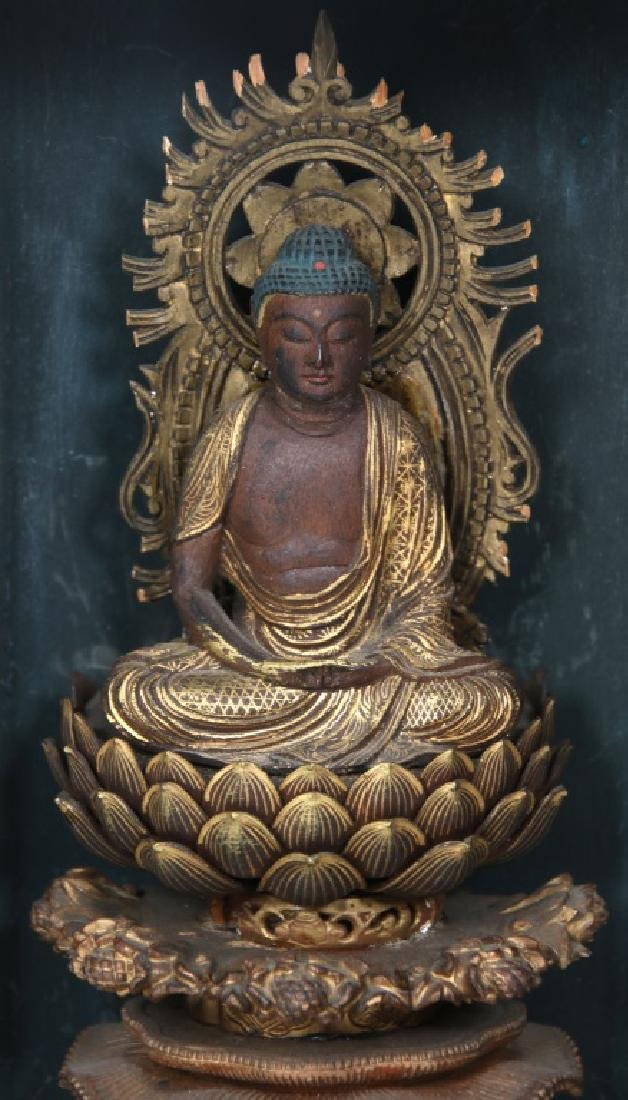 Japanese Lacquer Buddha Travel Shrine - 2