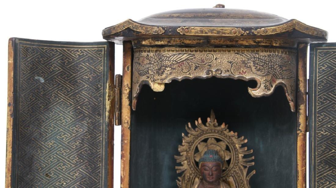 Japanese Lacquer Buddha Travel Shrine - 3