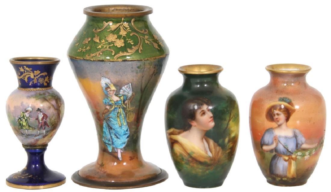 4 Porcelain and Enamel Cabinet Vases