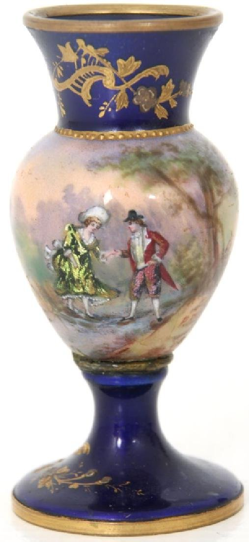 4 Porcelain and Enamel Cabinet Vases - 2