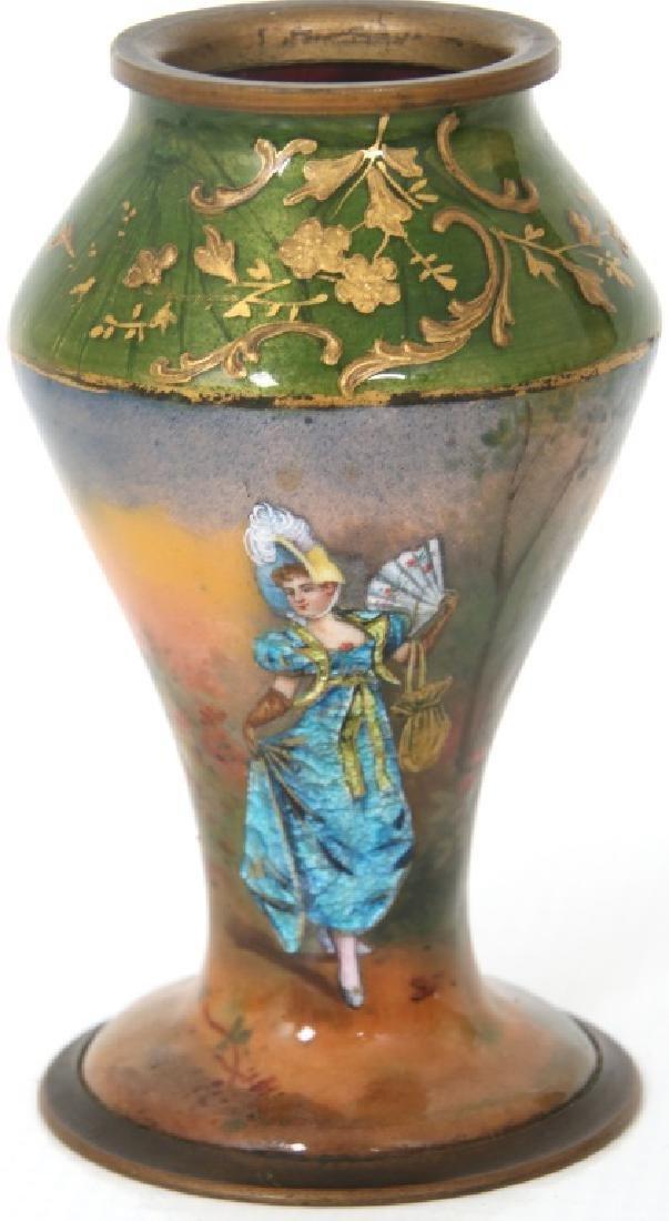 4 Porcelain and Enamel Cabinet Vases - 6